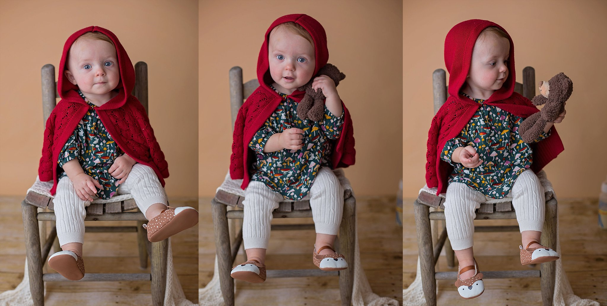 Pinehurst NC baby holds little bear for baby photographer Candace Wolfenbarger in the studio.
