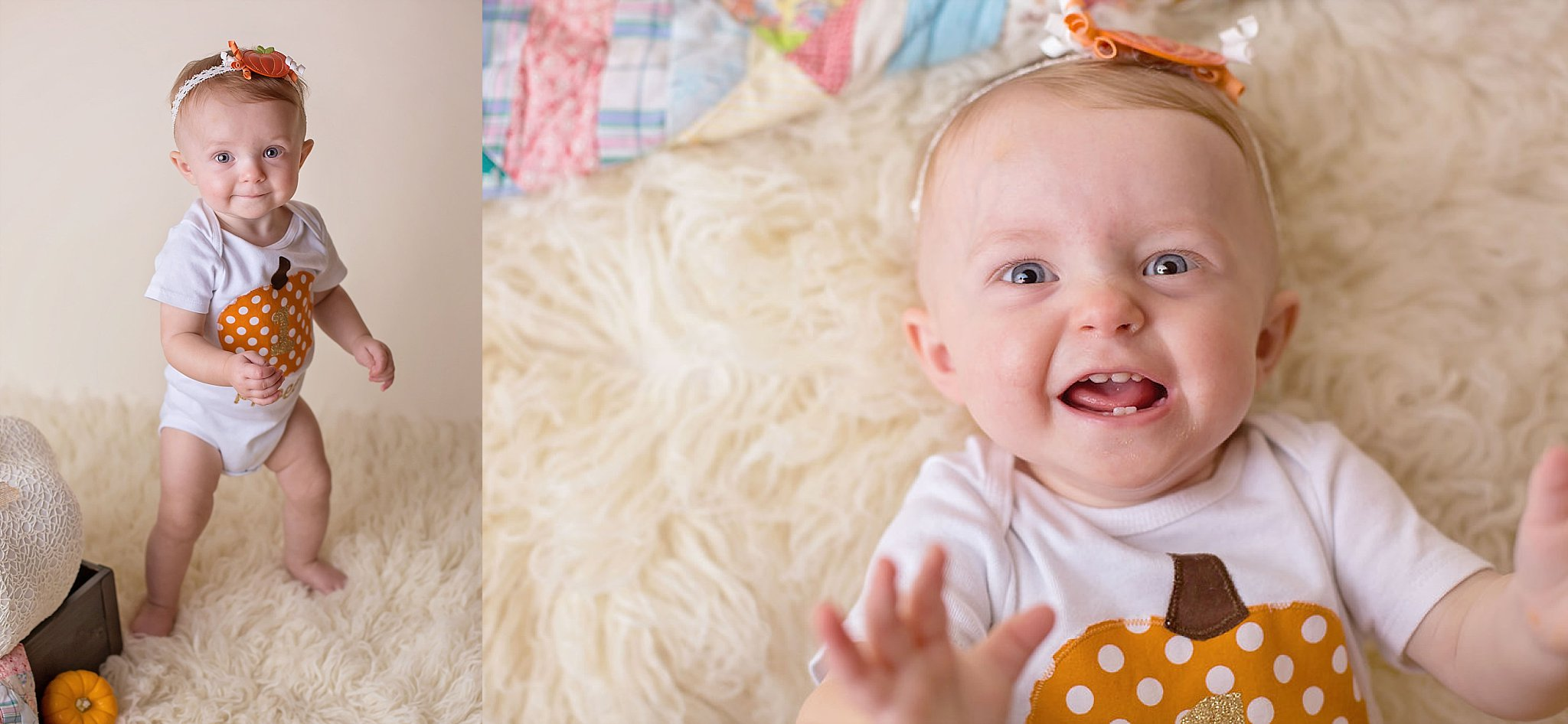 One year old girl smiles and laughs at photographer during Pinehurst NC studio baby session.