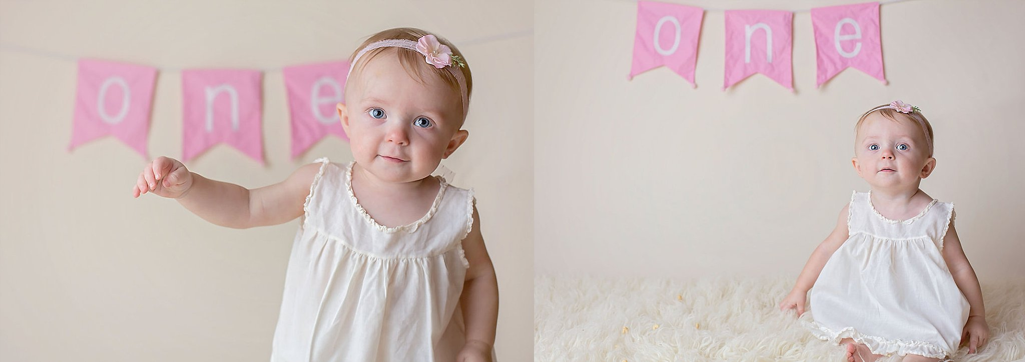 Pinehurst baby stands and smiles for photographer on white background.