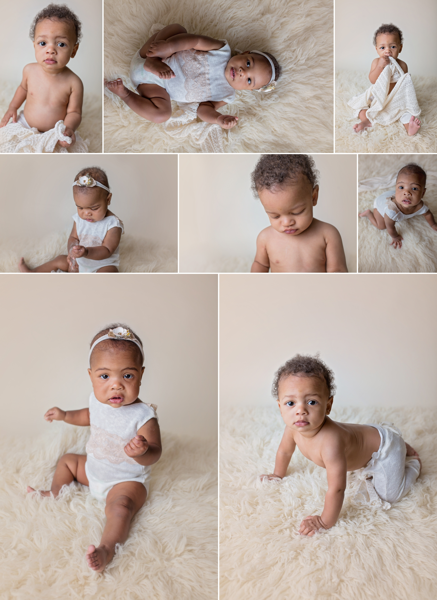 Twins crawl on white flokati rug during 7 month session.