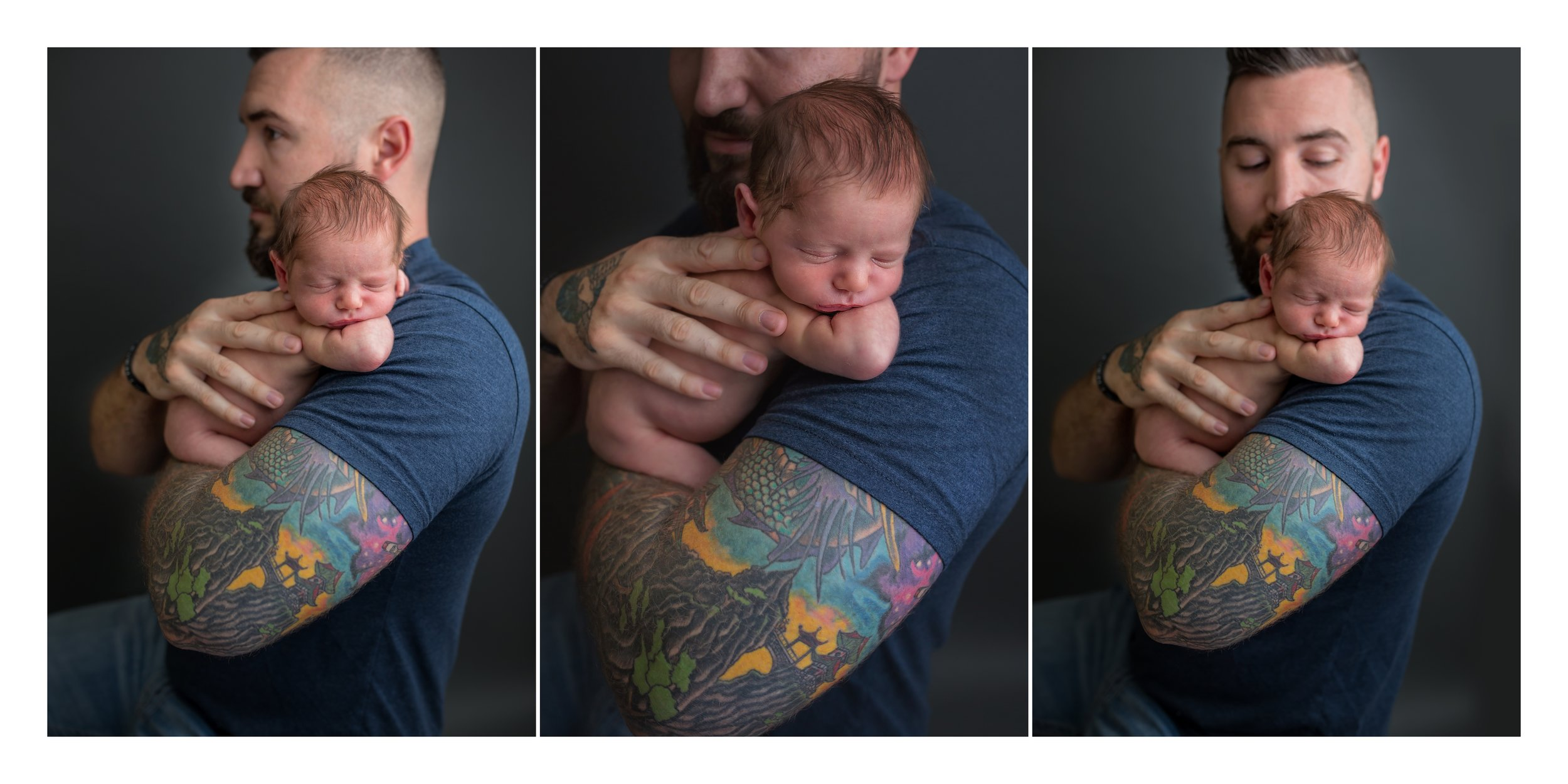 Dad with tattoos holds newborn baby during photo session
