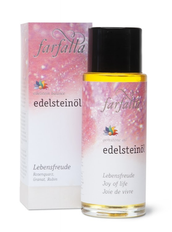 Gemstone Oil: Joy of Life   Rediscover the joy of living! A bath or massage with this oil helps boost vitality, courage, sensuality and self-confidence. To enhance the effects, each bottle contains a small gemstone.  Gemstones used: garnet, ruby, rose quartz  Essential oils used: rose, sandalwood, rose geranium, bergamot