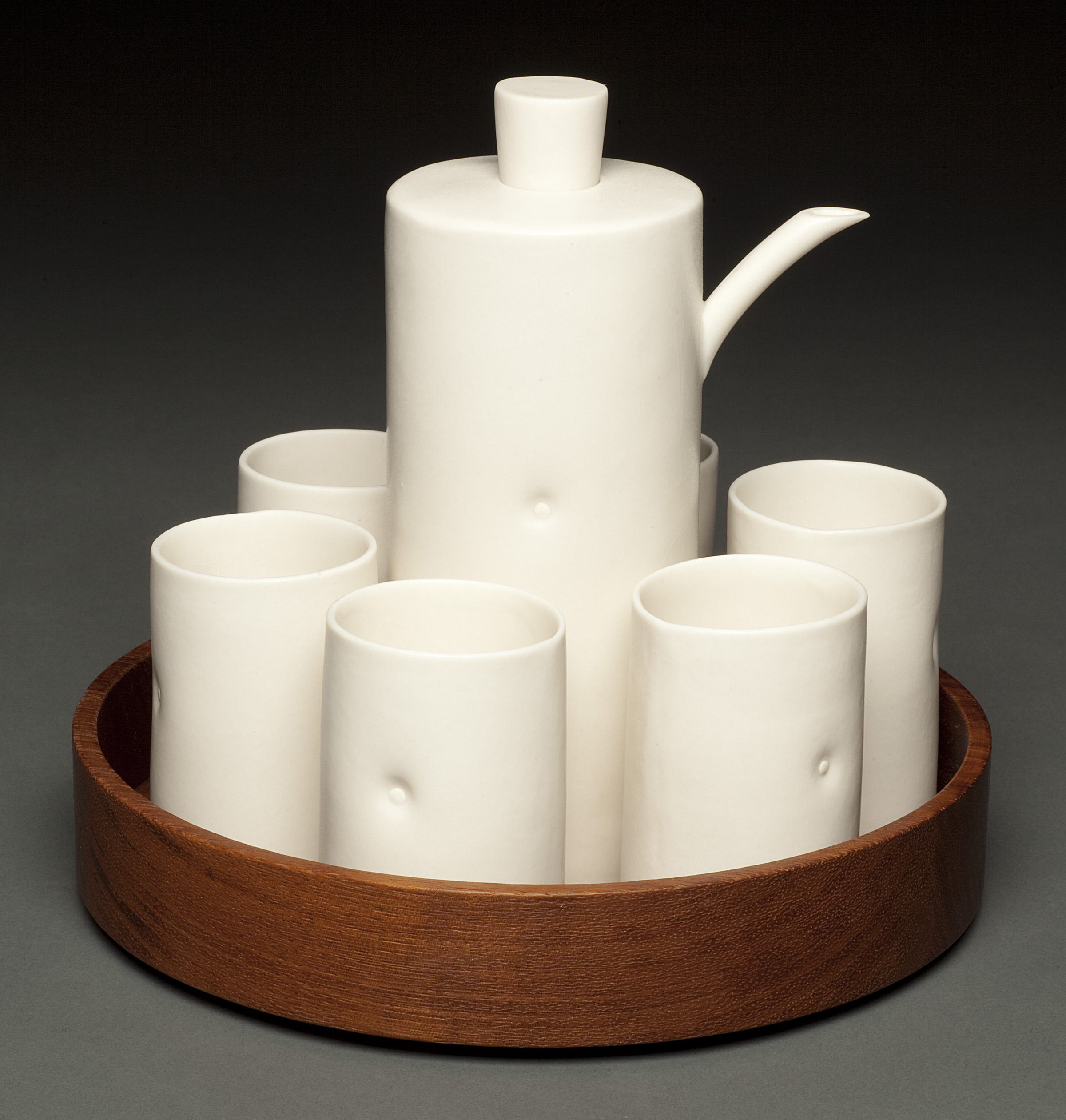 Dot Sake Set with Wood Tray