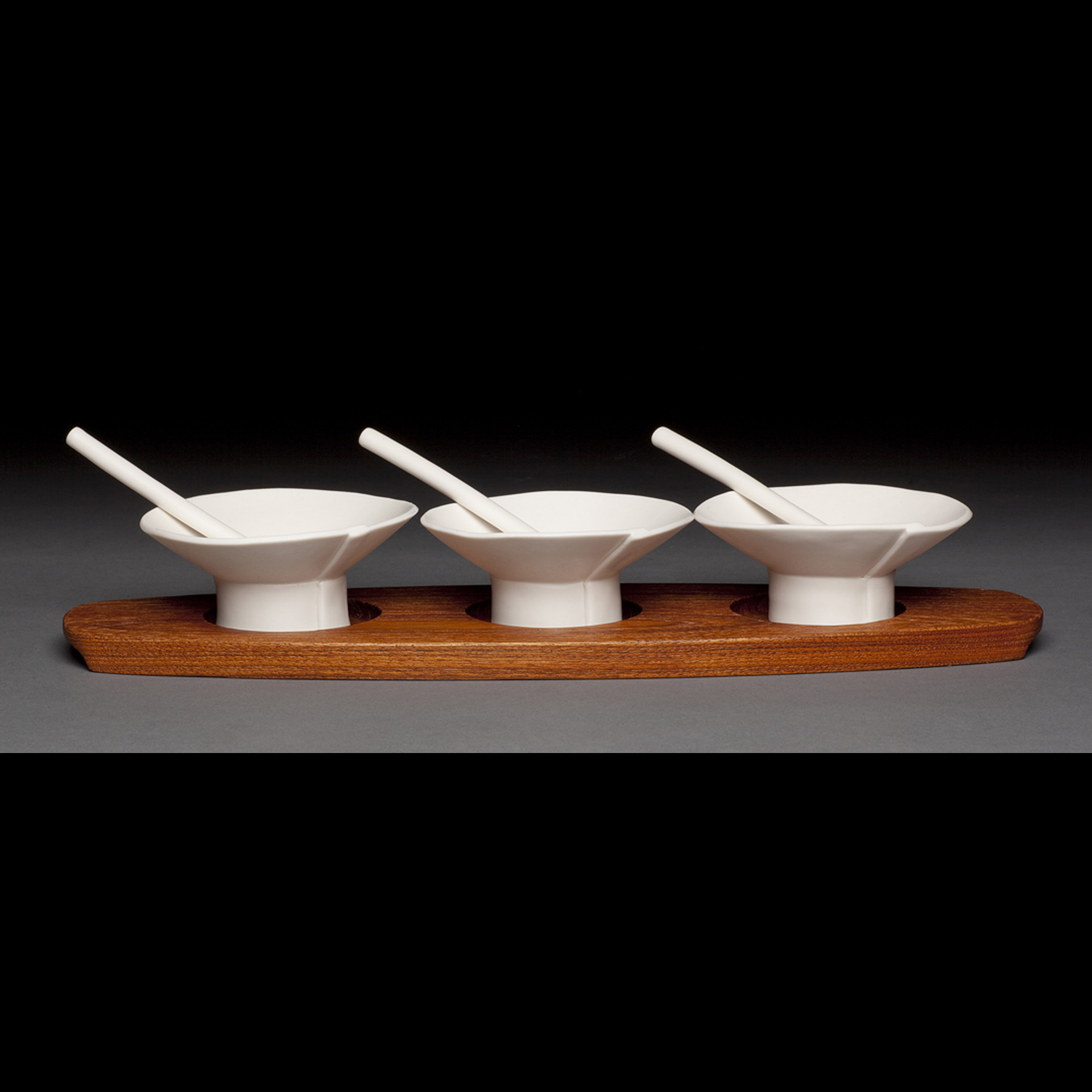Condiment Set with Vintage Wood Tray
