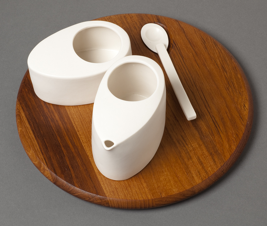 Egg Cream and Sugar with Wood Tray Set