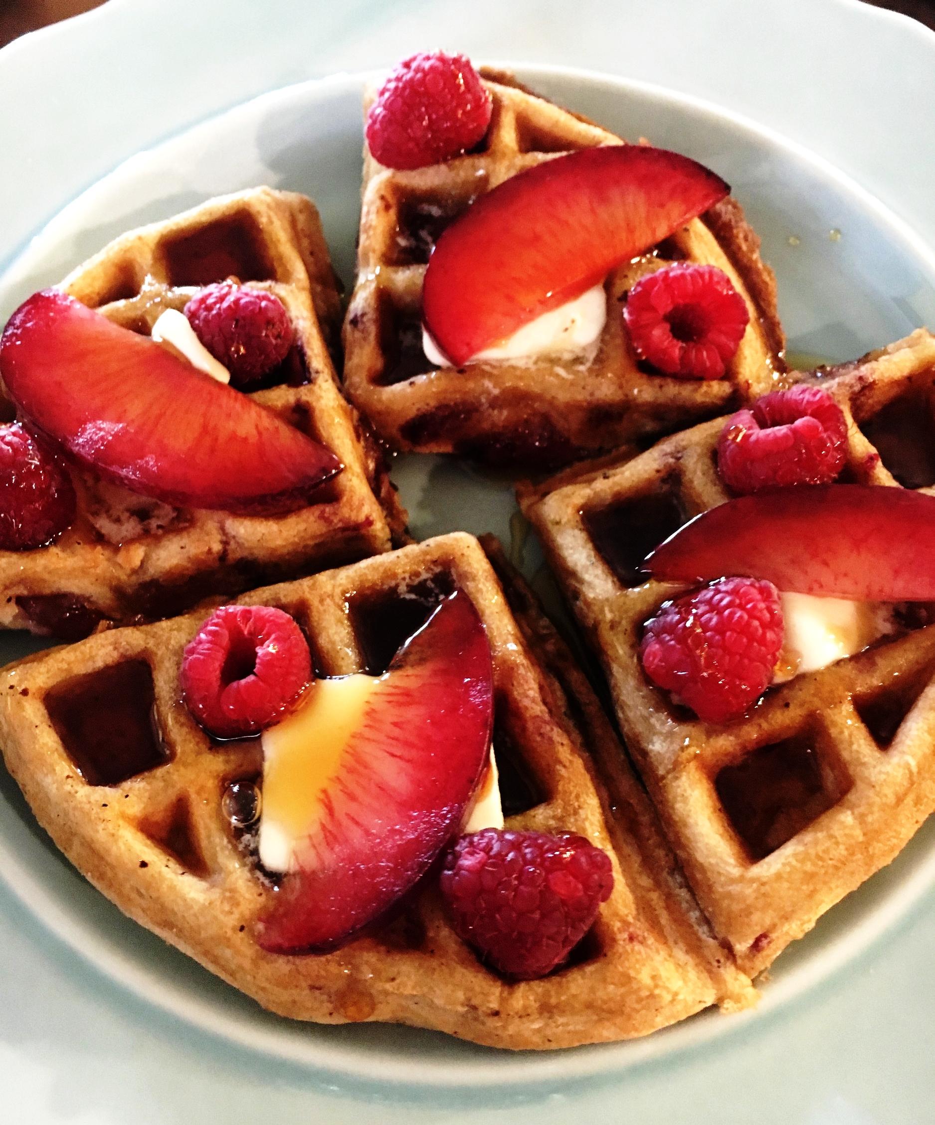 Summer Plums & Raspberry Waffles
