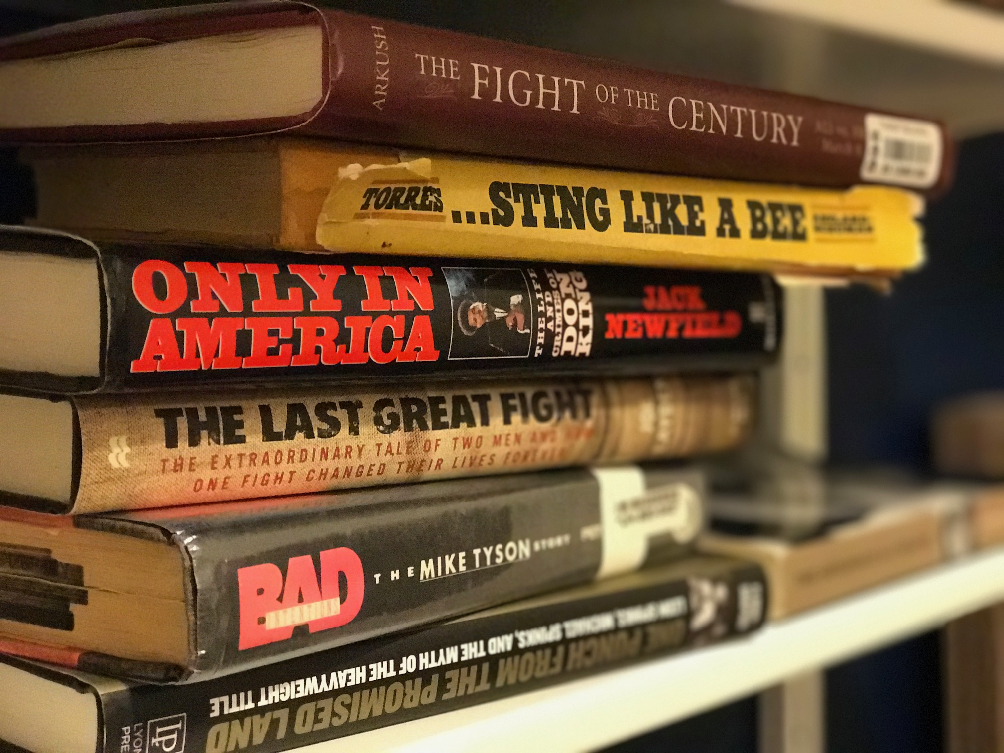 A portion of my boxing bookshelf
