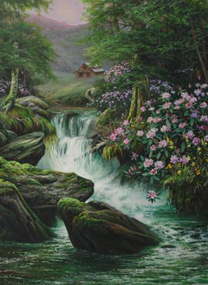 Mountain Waterfall •