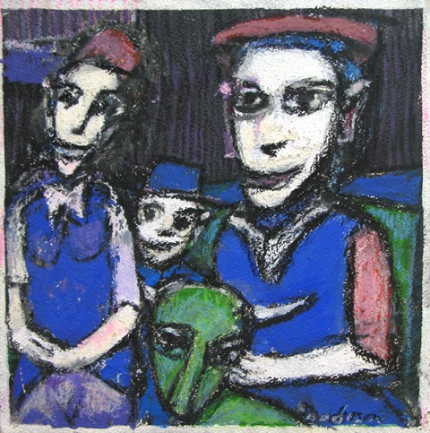Three Figures and Creature, Color *