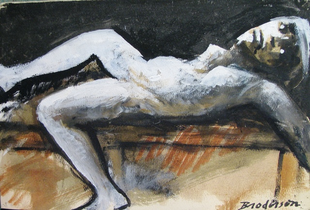 Nude Reclining on Brown *