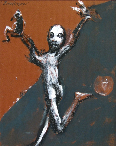 Figure Holding Two Objects *
