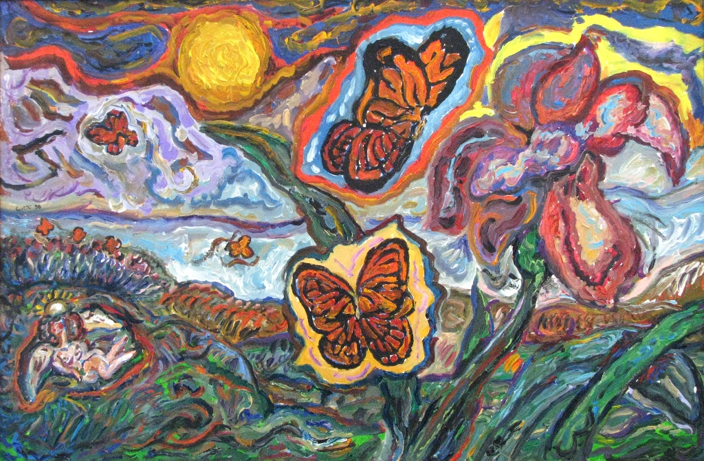 Angel dreaming the Spring with Butterflies