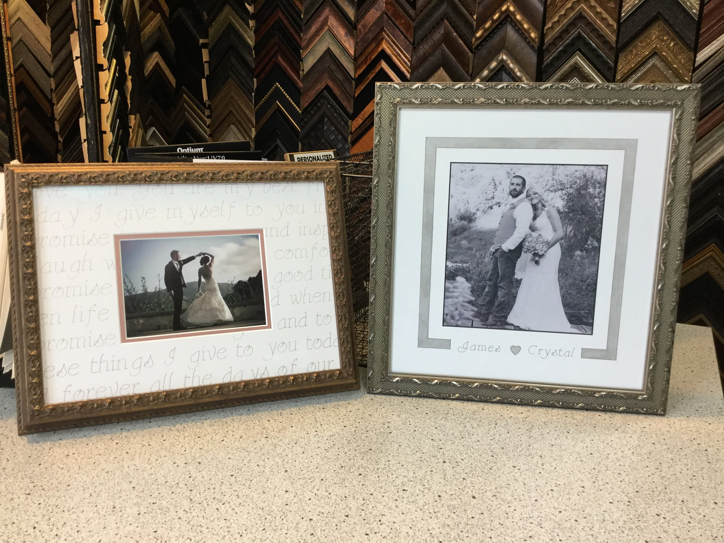 Memorialize your special day with special custom mats. We can write your vows directly on the mat!