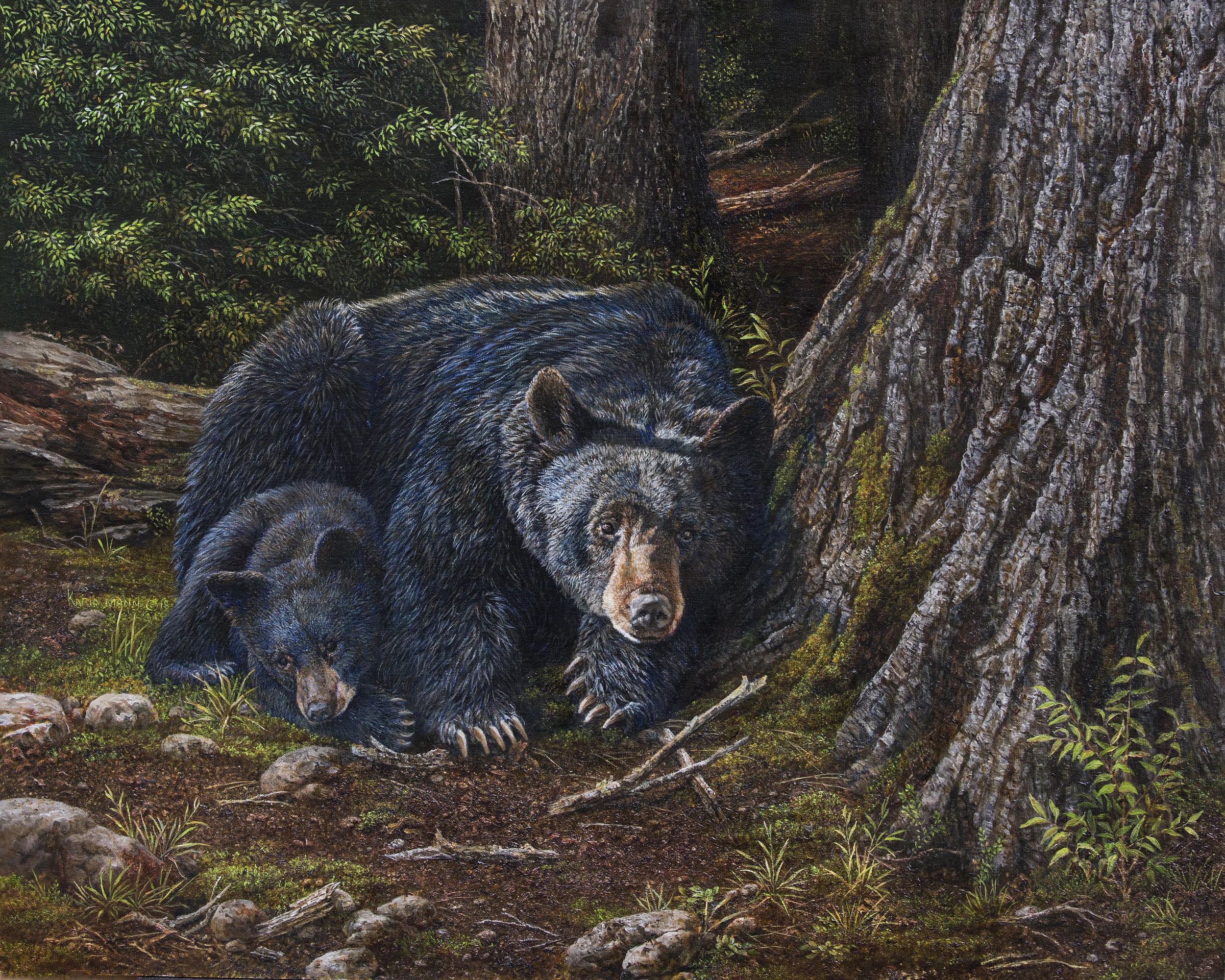 """""""Snuggling with Mom"""" oil on panel 16"""" x 20"""" available, call gallery for pricing"""