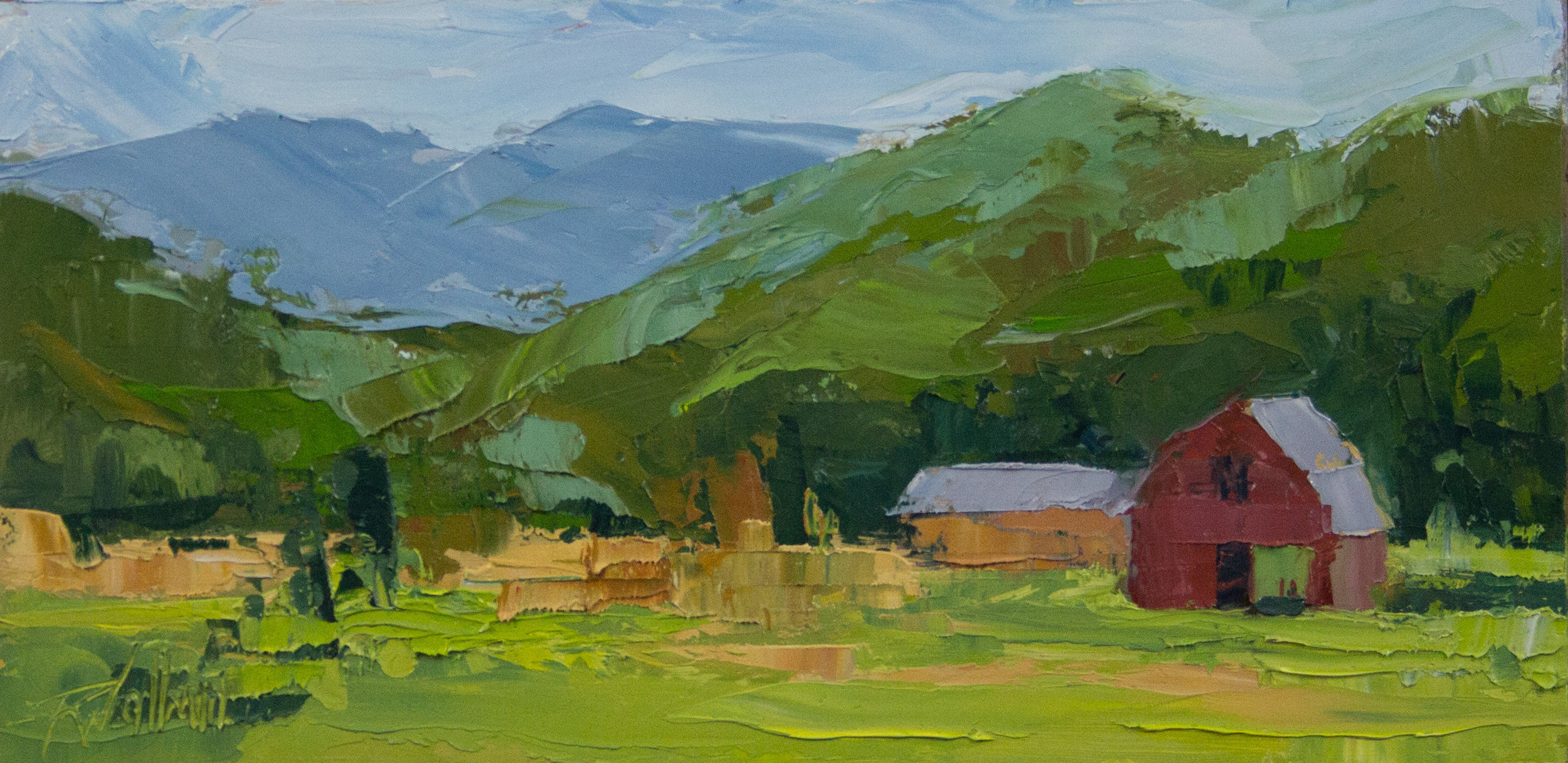 """Red Barn in Valle Crucis""    Robin Wellner    6"" x 12""    $550"
