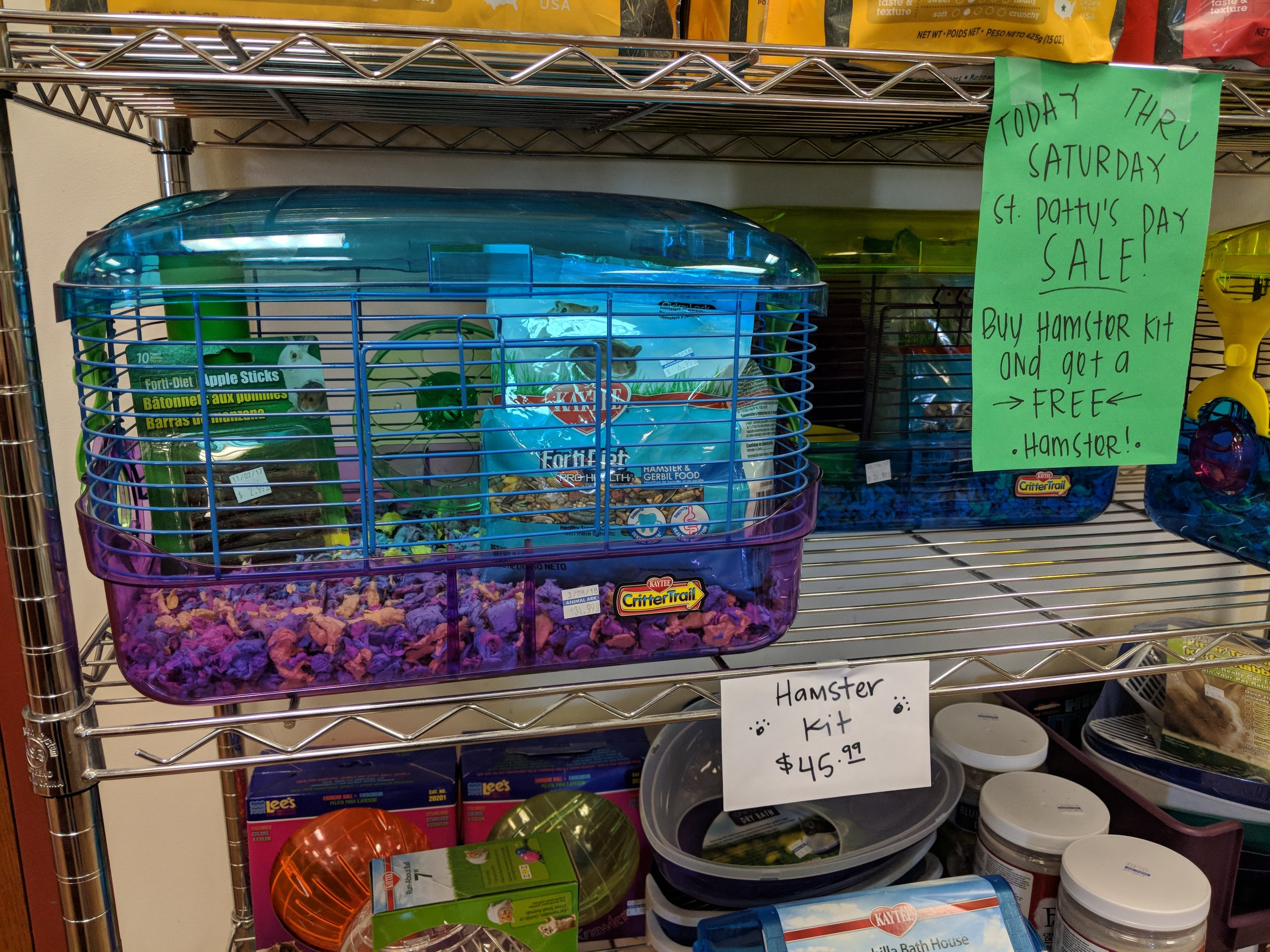 Receive a FREE hamster with the purchase of our hamster kit!    Sale ends Saturday.