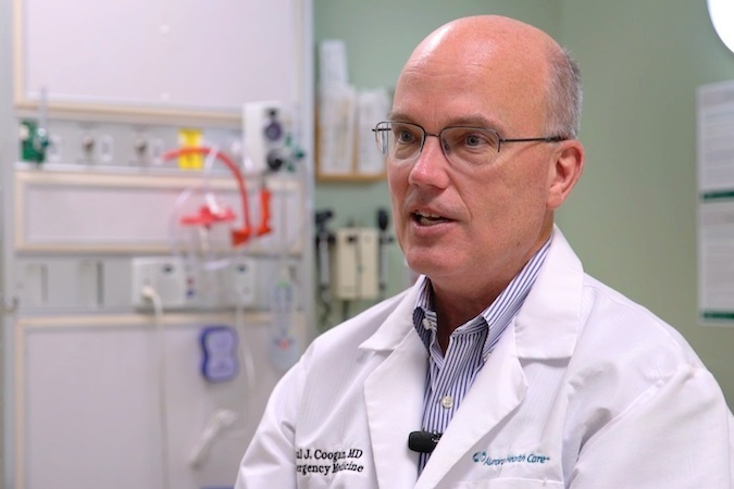 """""""Our remote providers see double the patients they used to see. Bottom line is patients are happier and our staff is happier."""" - Paul Coogan MD FACEPPresident, Emergency Services   Advocate Aurora Health"""