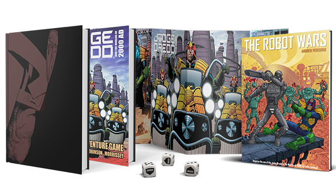 Full colour 270-page hardcover  Judge Dredd & The Worlds of 2000 AD  core rulebook!   The Robot Wars , 150-pages, the first in a series of softcover sourcebooks and adventures!  Sturdy two-sided cardboard 4-panel GM screen full of handy reference charts and tables!  Special limited edition Judge Dredd dice set!  Also, we are offering a limited edition version of the core rulebook with a special cover exclusive to this Kickstarter!