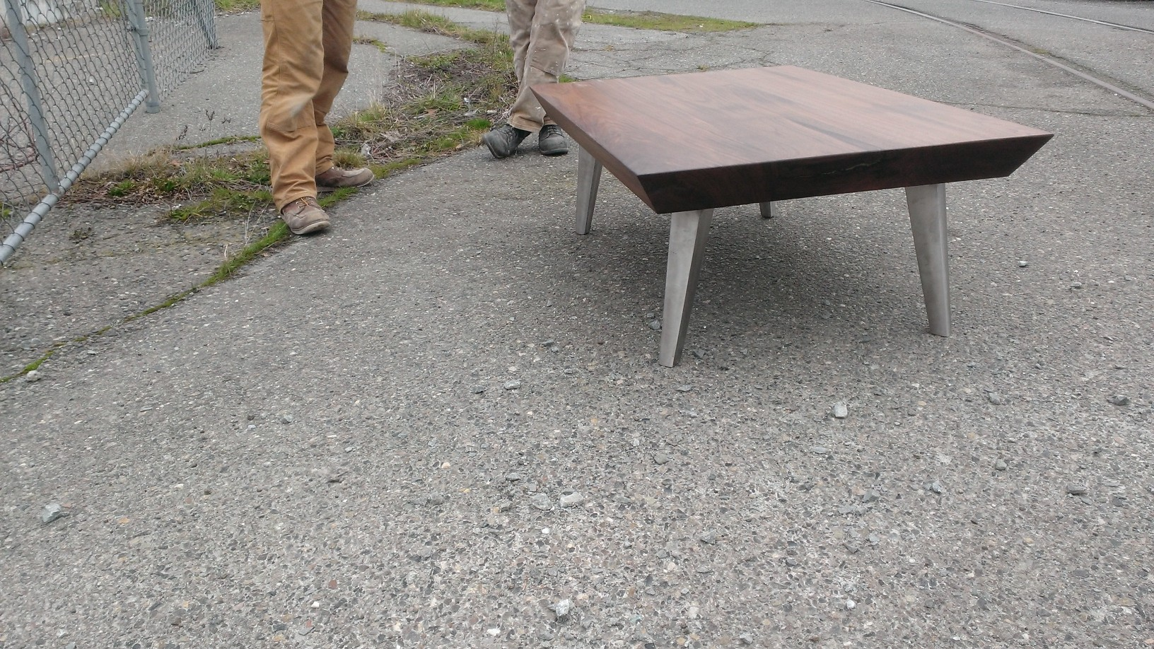 Steel-based Angled Coffee Table,  Walnut