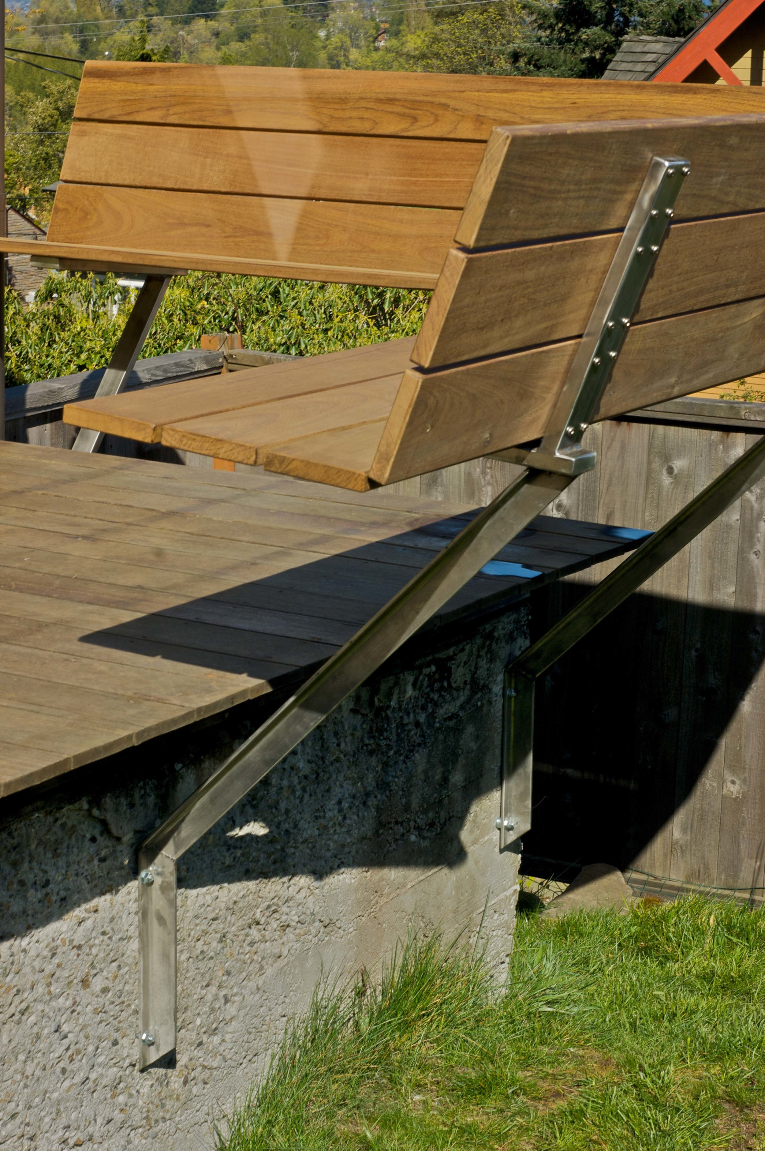 Stainless Steel Cantilevered Bench,  Ipe