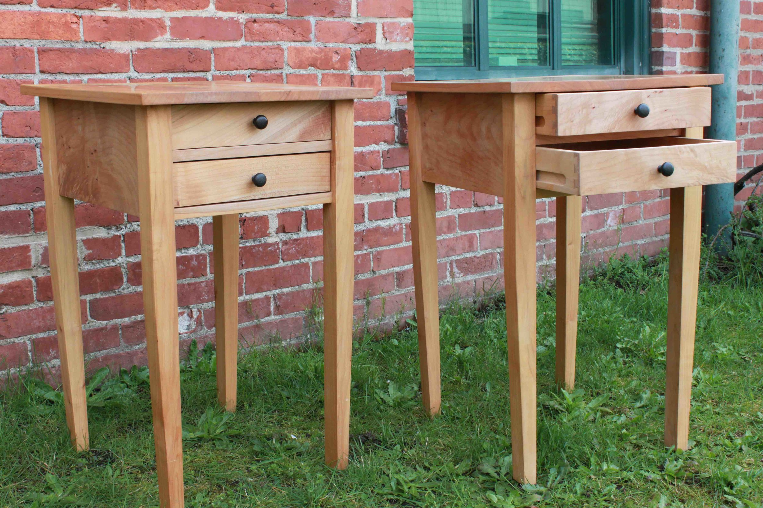 Maple Bed Tables.drawers ajar.jpg