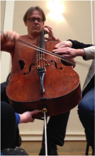 Alban Gerhardt playing the cello at the Dance for PD event.