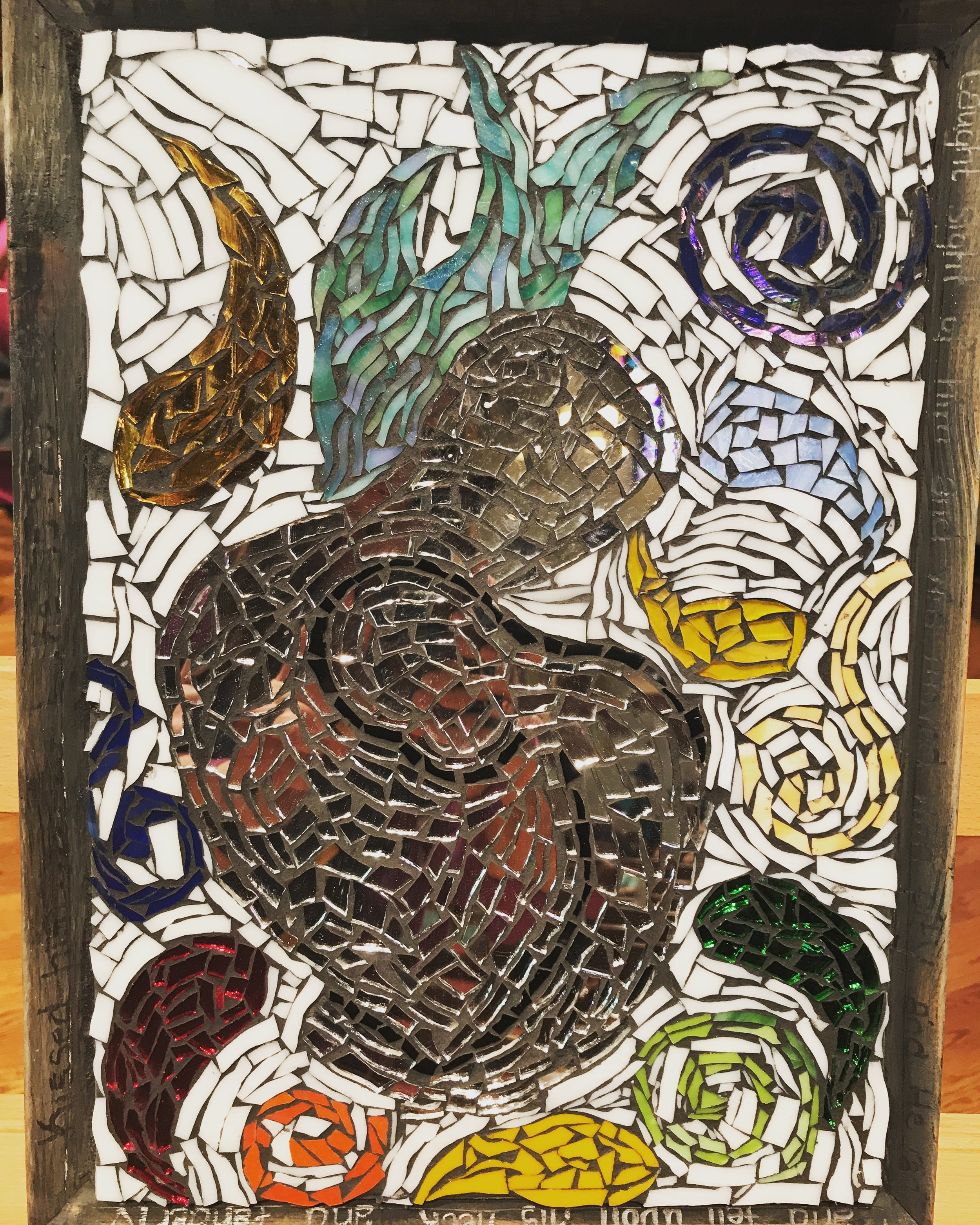A mosaic created by Jamie Hutchinson, a member of the Creative Vision Factory and our Artist's Way Creative Cluster at Grace Church.
