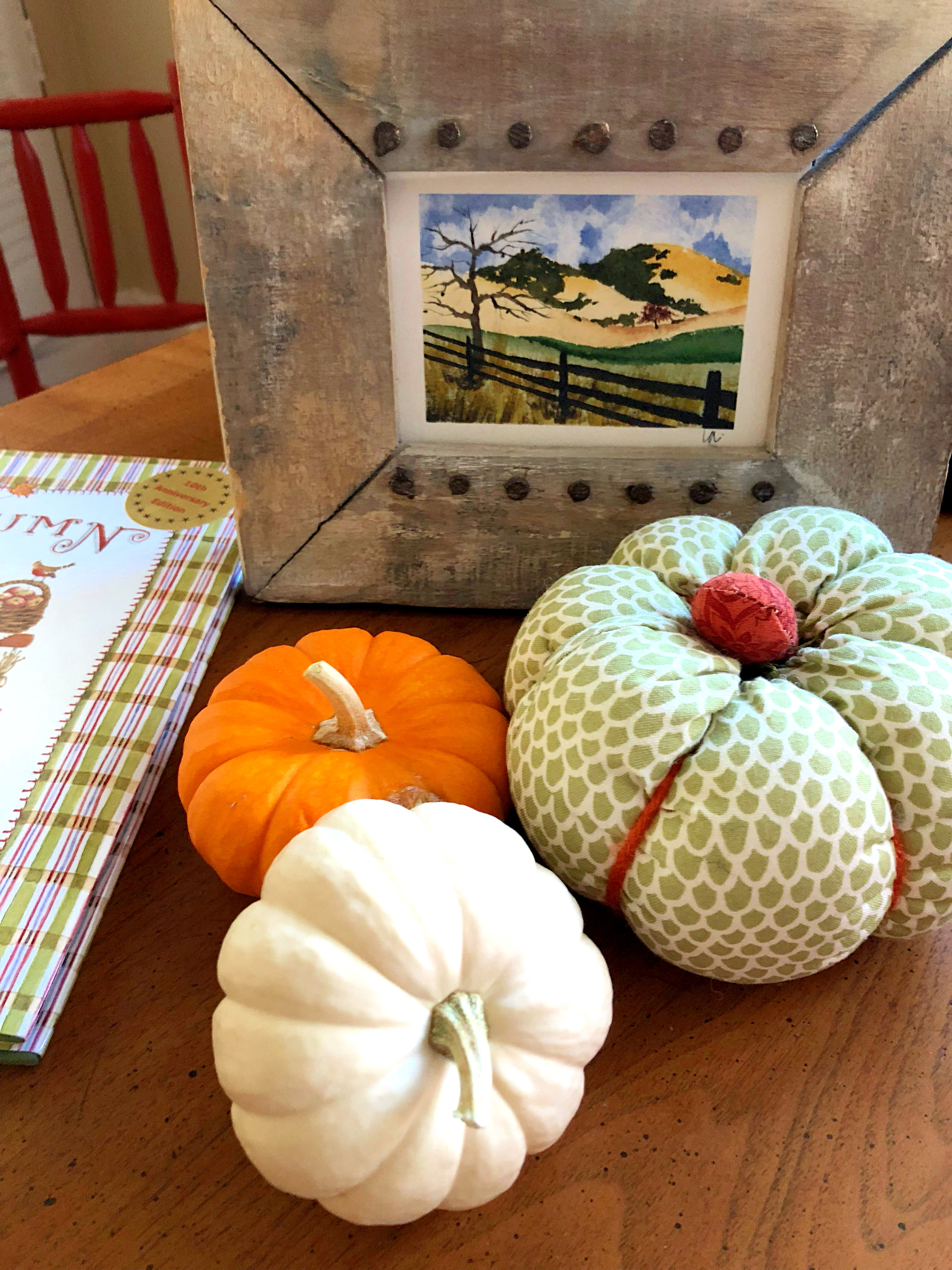 Watercolor of Mt. Diablo and frame was a gift from a sweet family member, fabric pumpkin made by my girls. Real pumpkins from Trader Joe's.