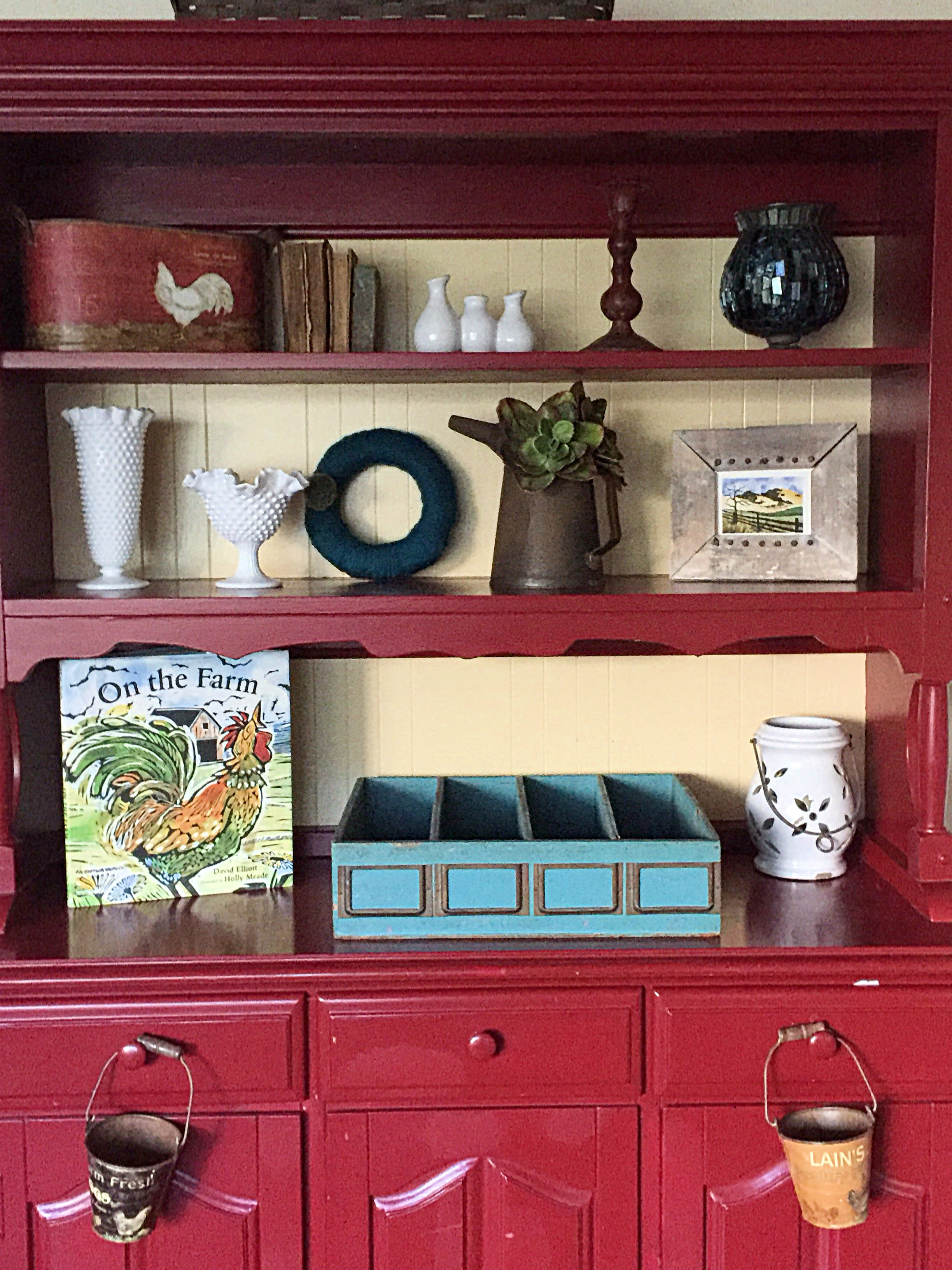 Every item here was chosen with inspiration from the rooster on wood print.