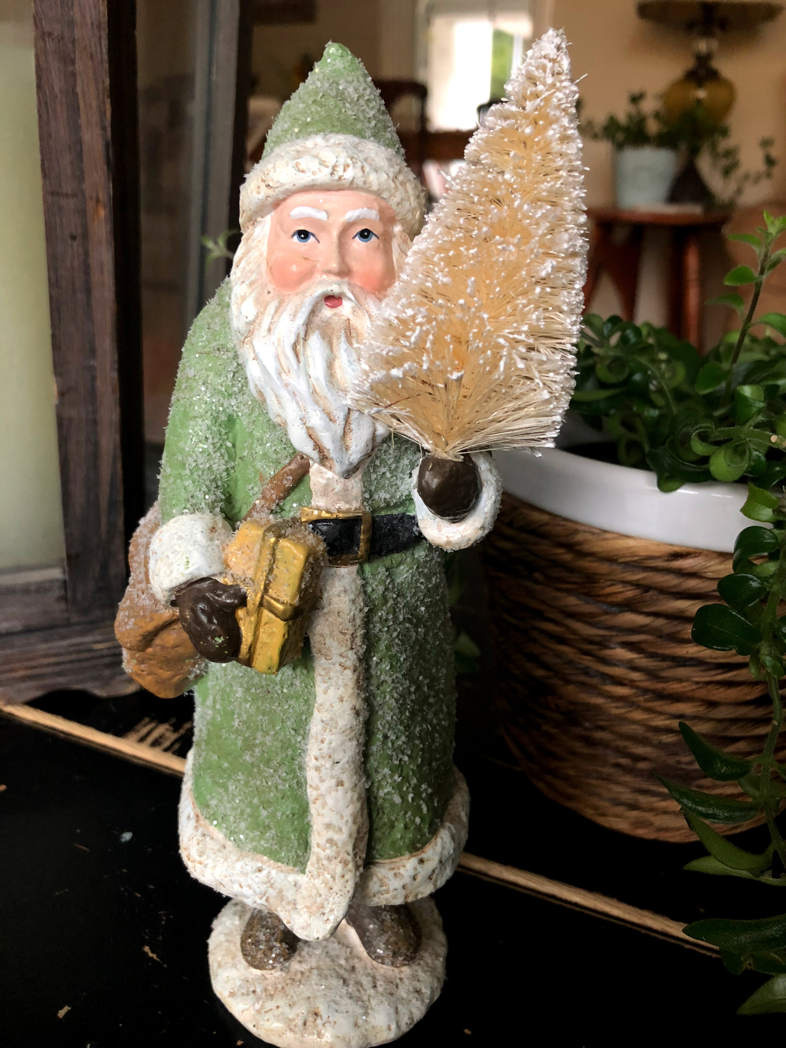 Or maybe this little vintage Santa will inspire the feel of your home this year…