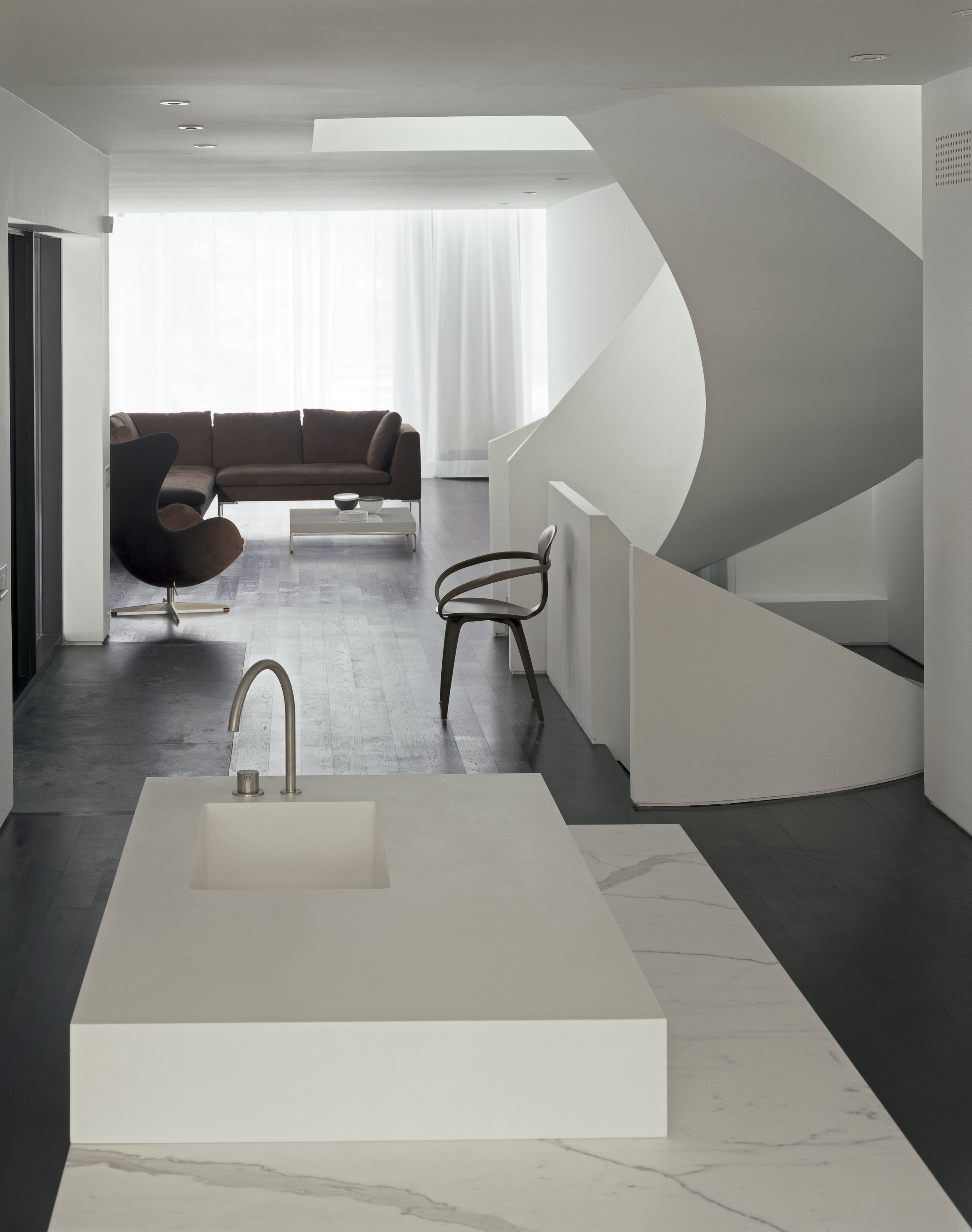 Copy of Russell Hill Road - Kitchen Stair white curve living room couch