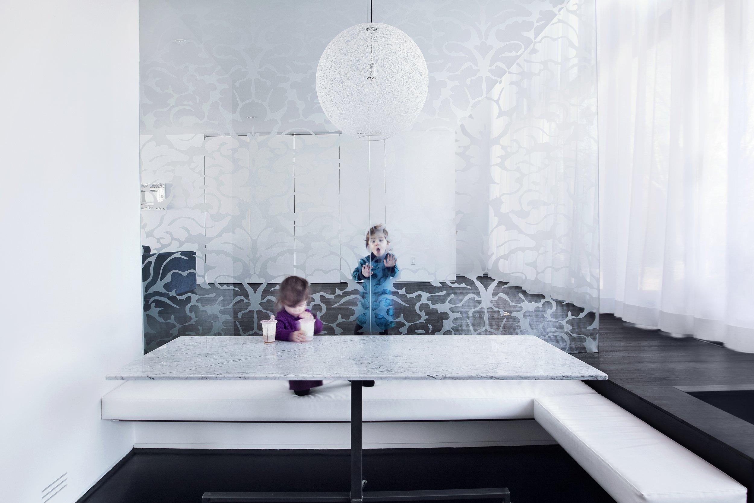 House 60 - kitchen table patterned glass pendant light bench