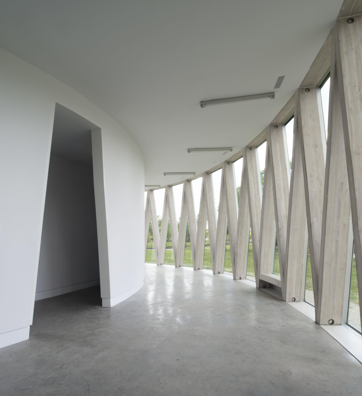 Borden Park Pavilion - interior wood structure door detail