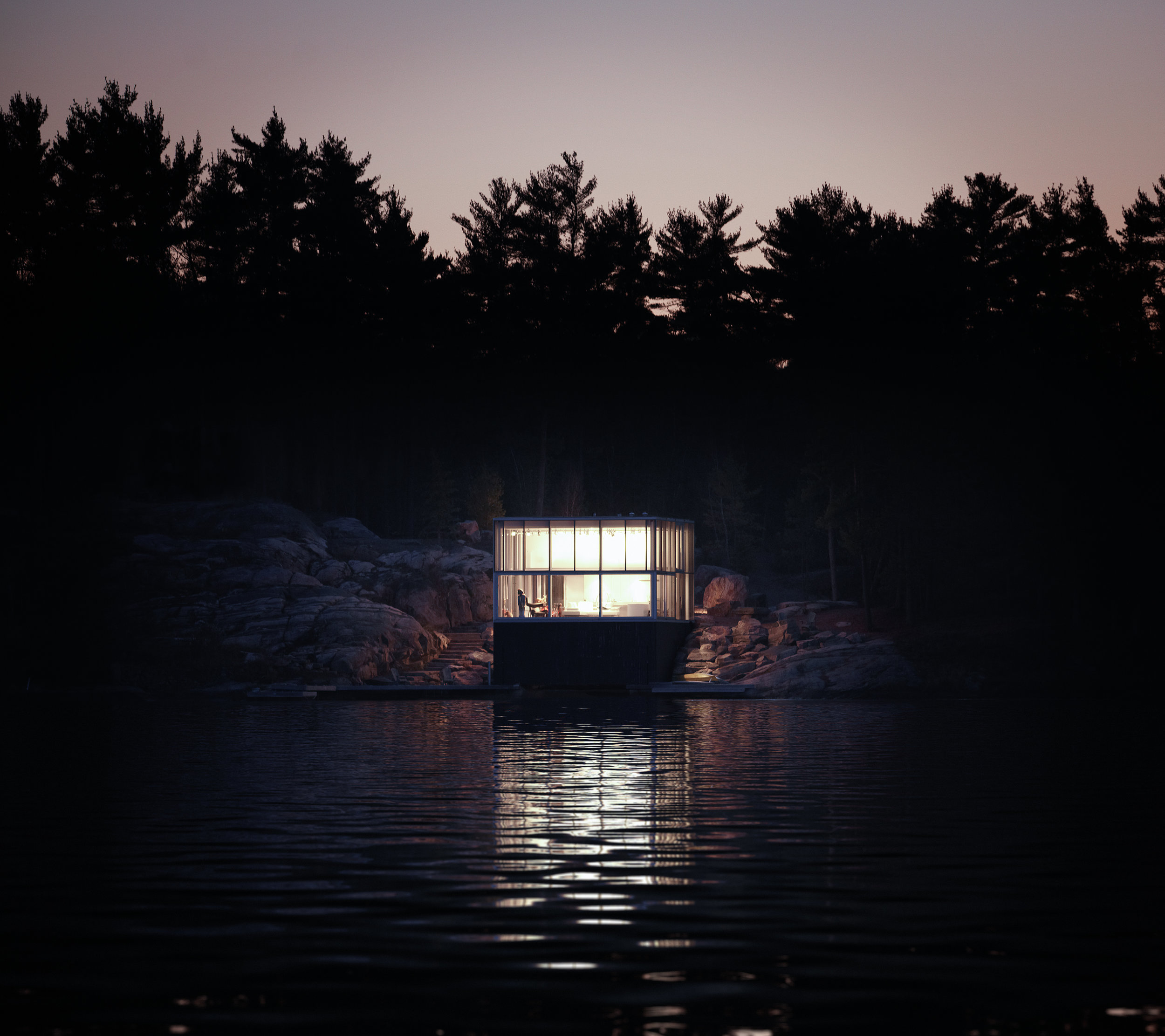 Glass Boathouse - Night from Lake