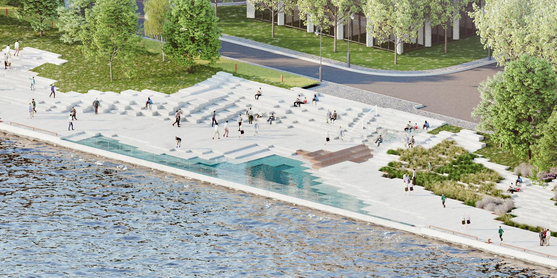 Pier 8 Promenade Park - infinity wading pool, steps