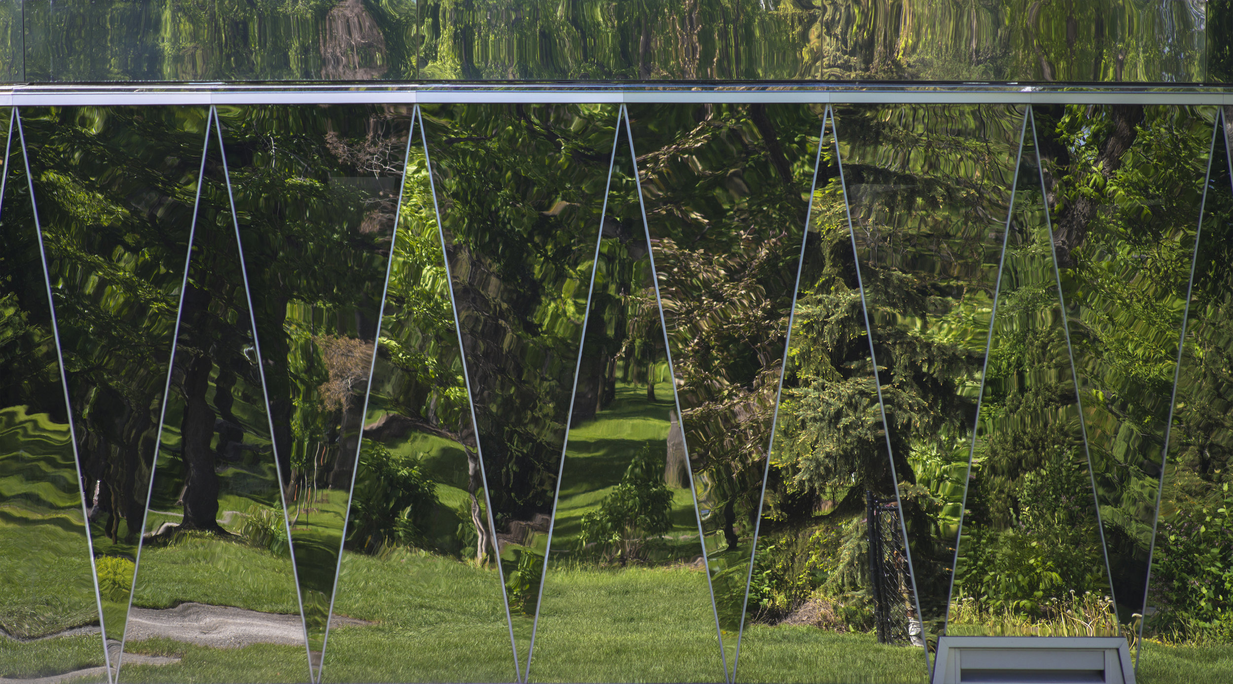 Borden Park Pavilion - mirrored glass facade elevation detail