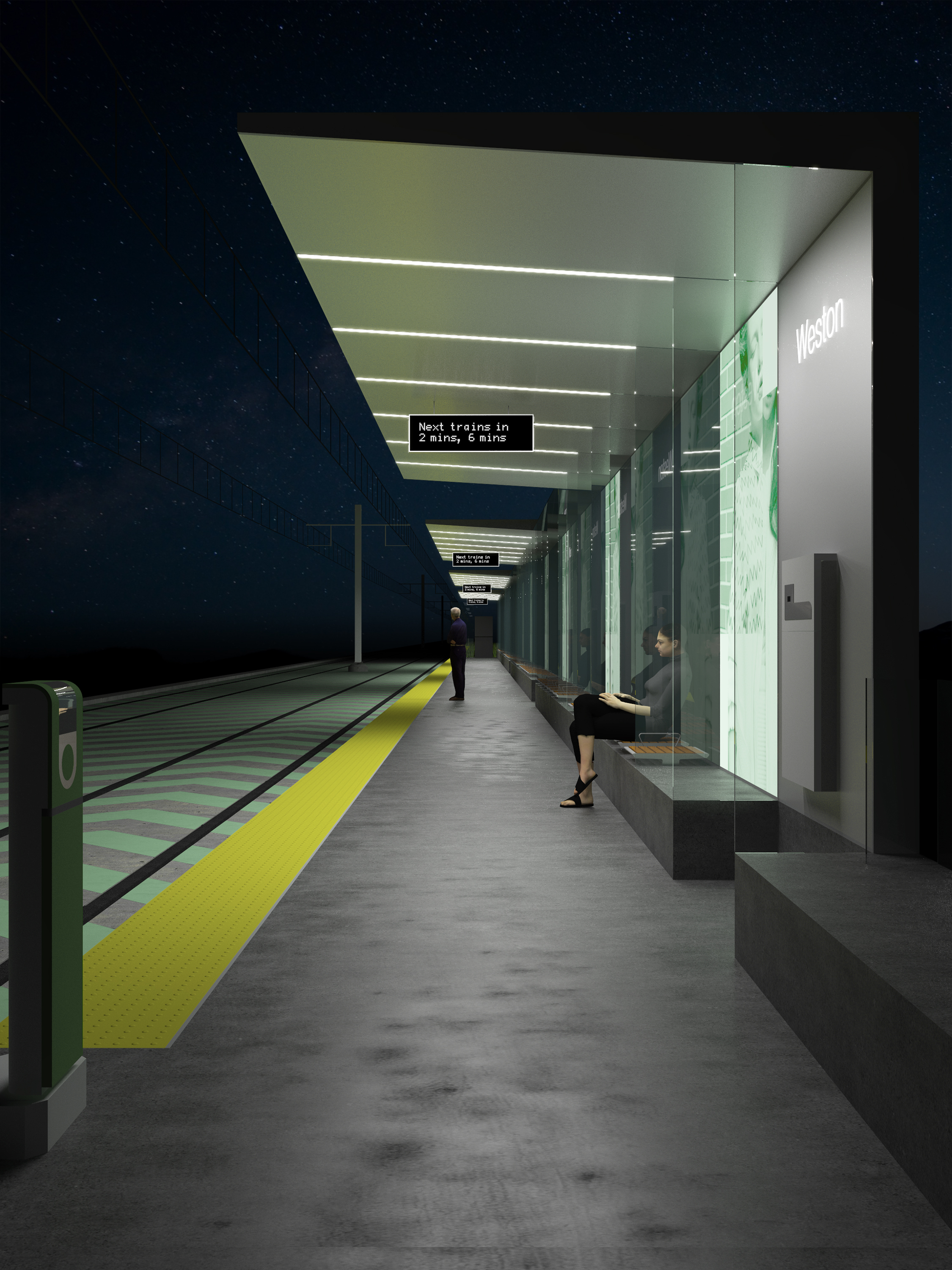 Finch West LRT DX - Platforms at night
