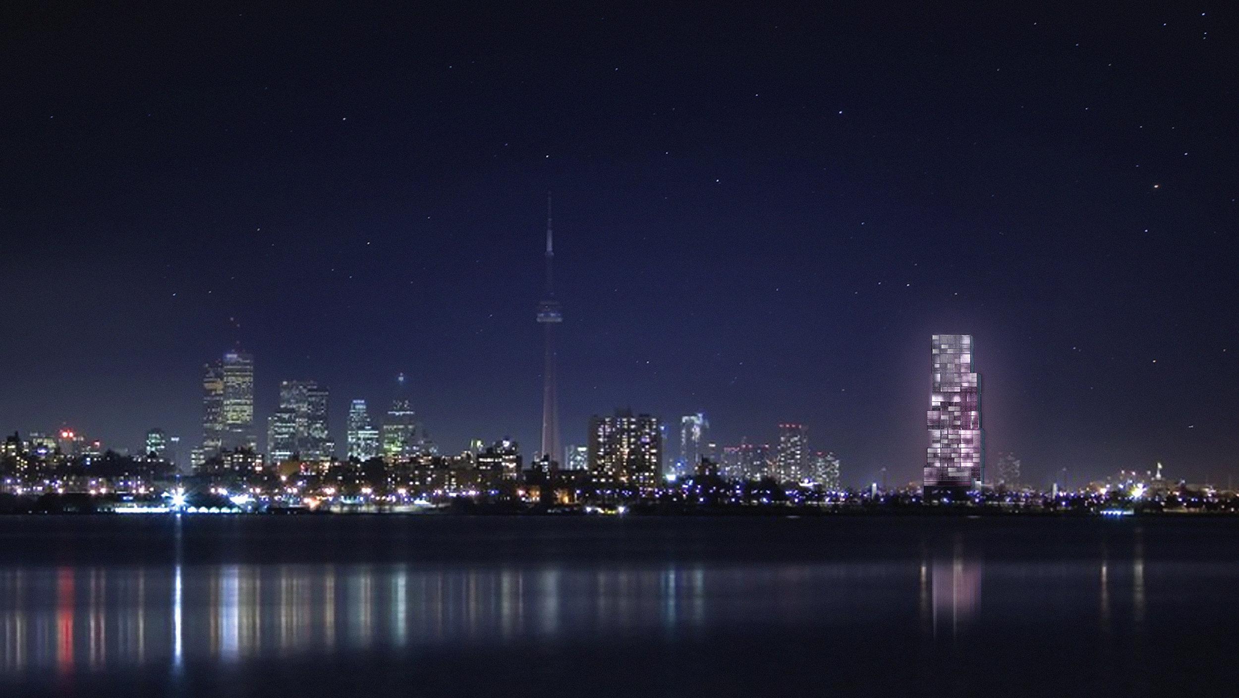 CNE Hotel - Night skyline lake colour