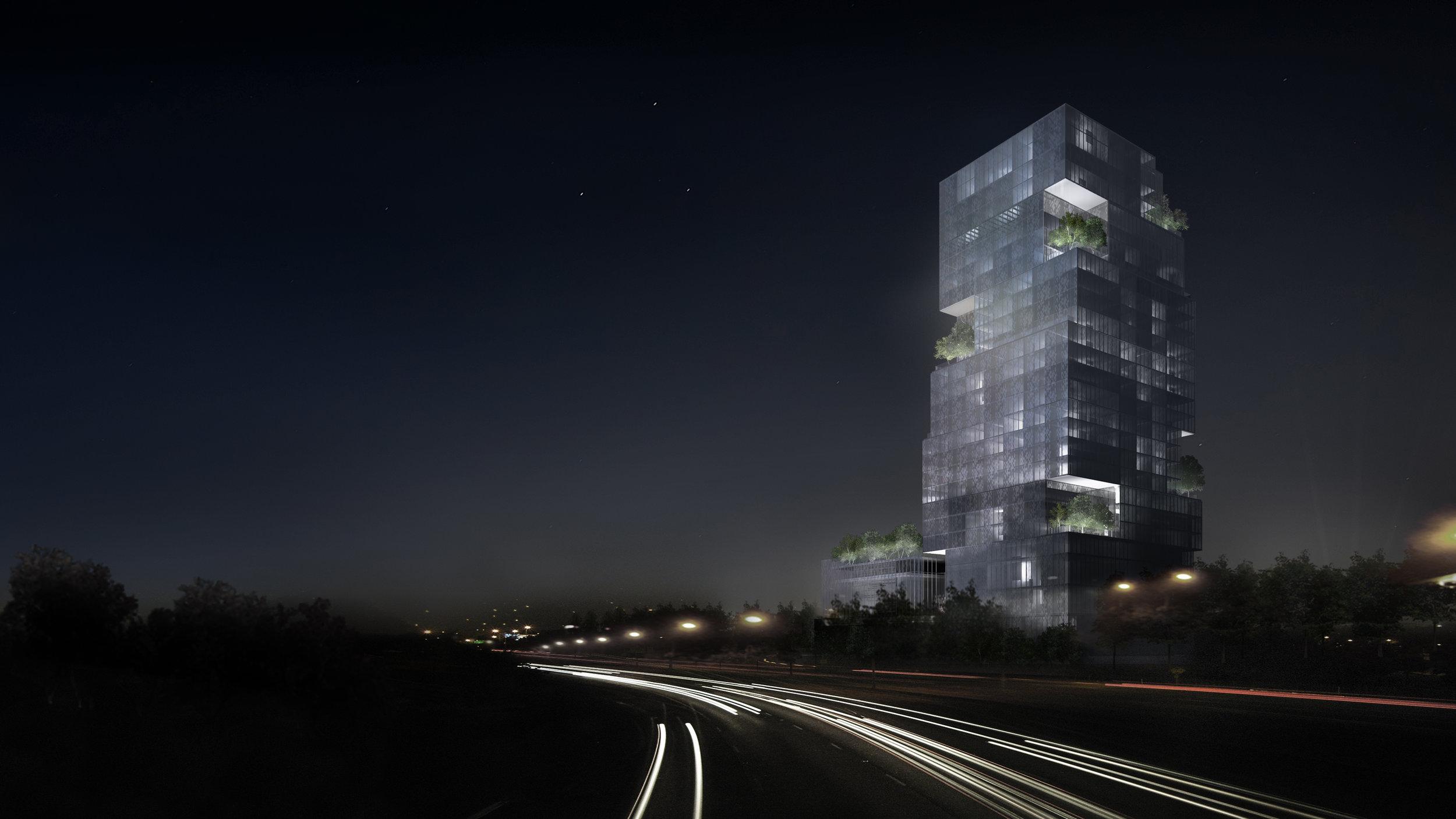 CNE Hotel - Night View from Gardiner Expressway