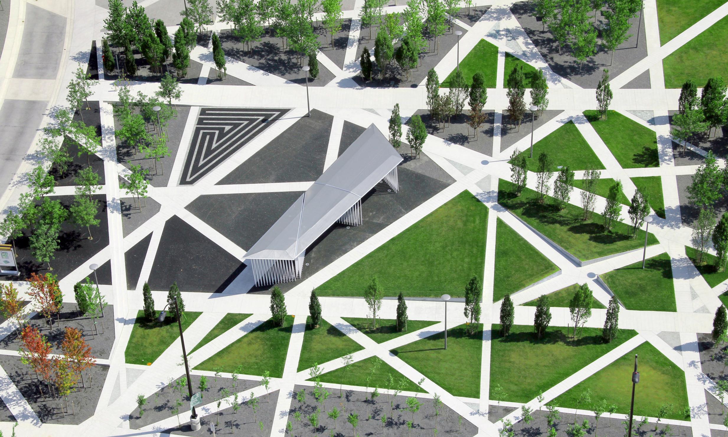 Scholars Green - Aerial Pavilion Trees