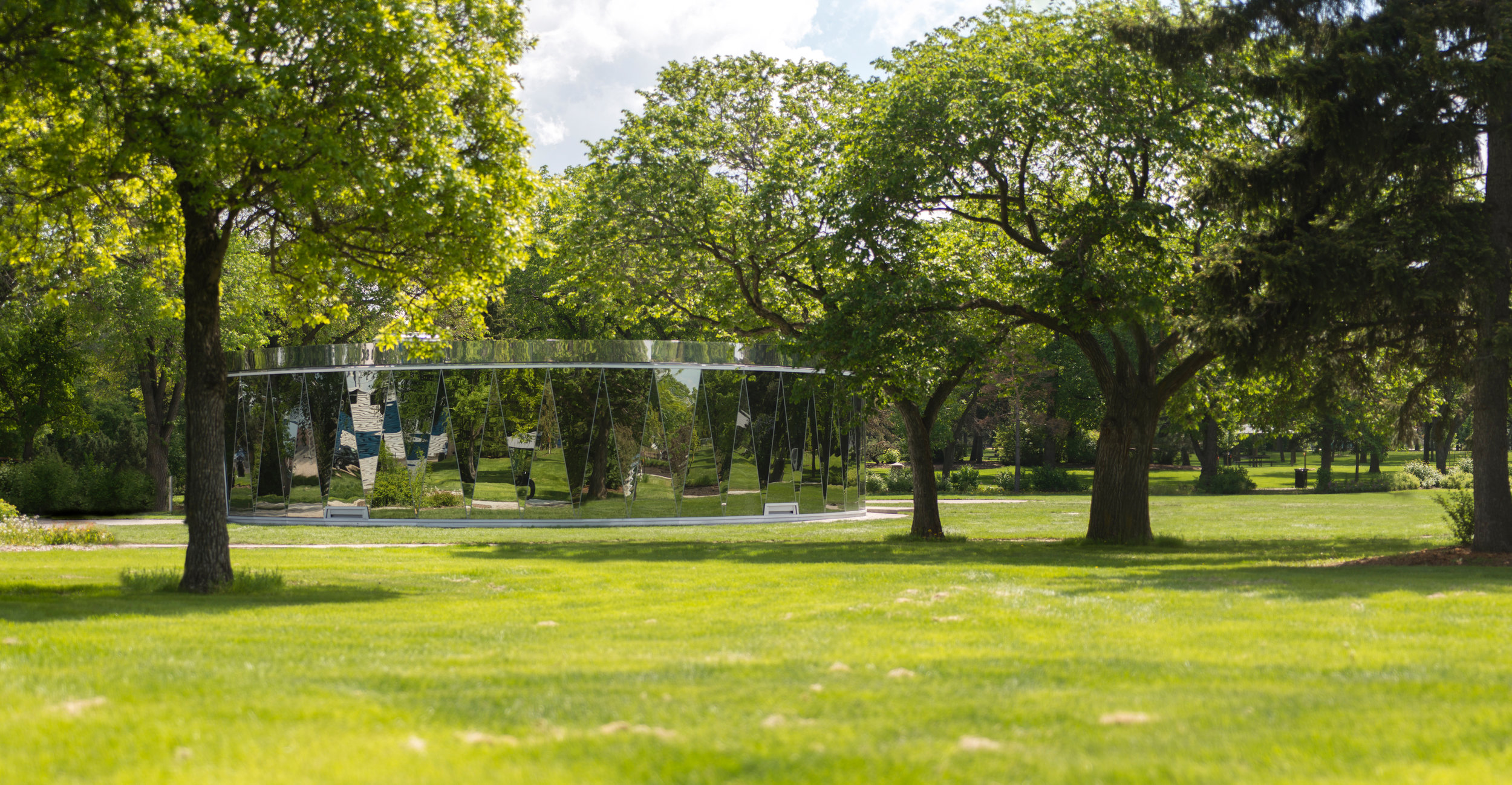 Borden Park - exterior distant view blend trees mirror