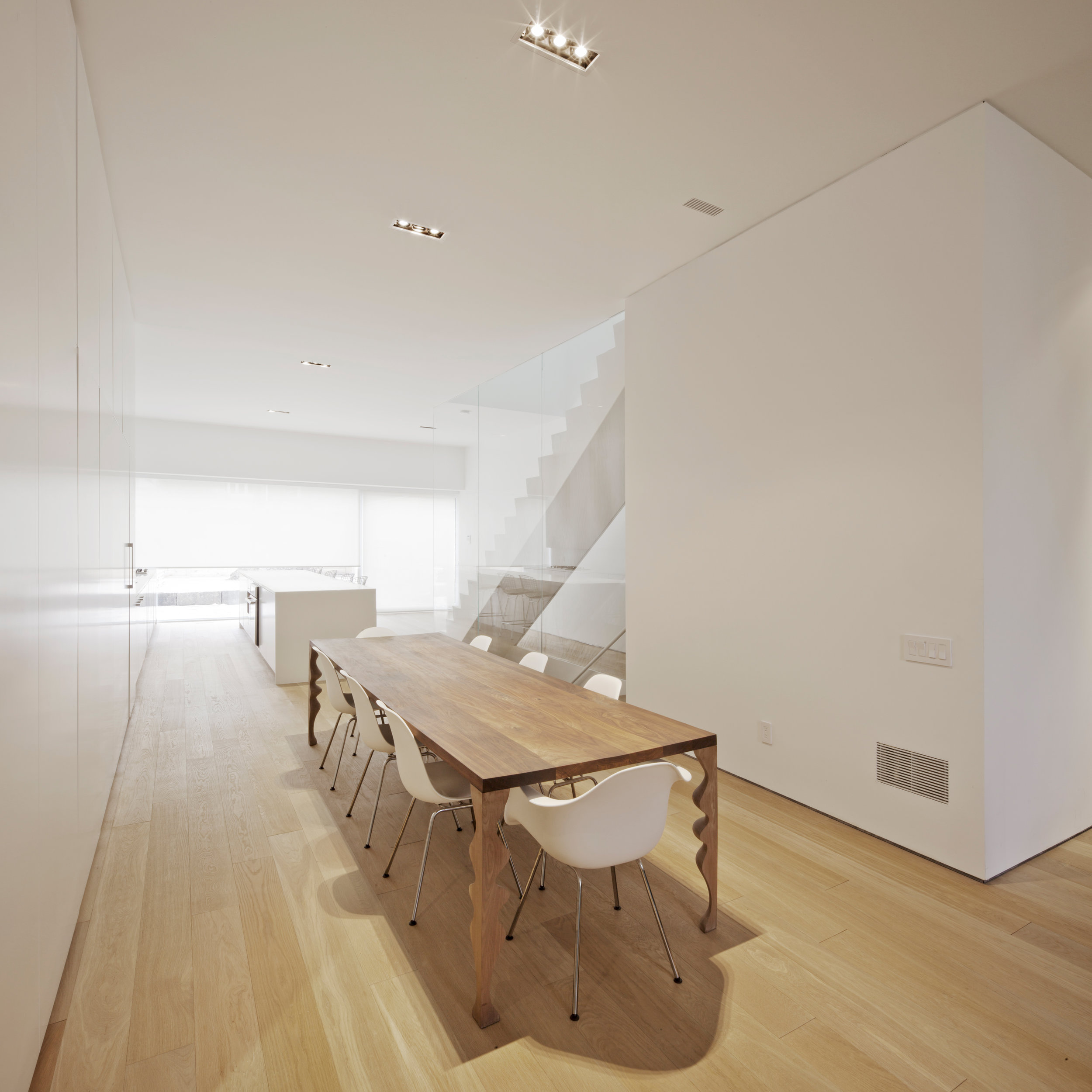 Robert House - dining room stair interior glass