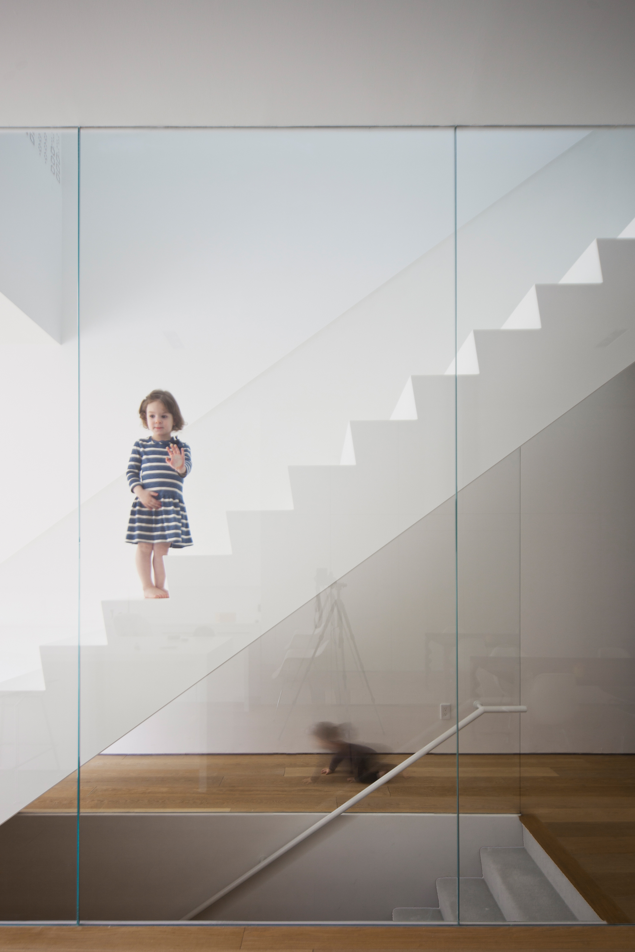 Robert House - stair glass detail interior