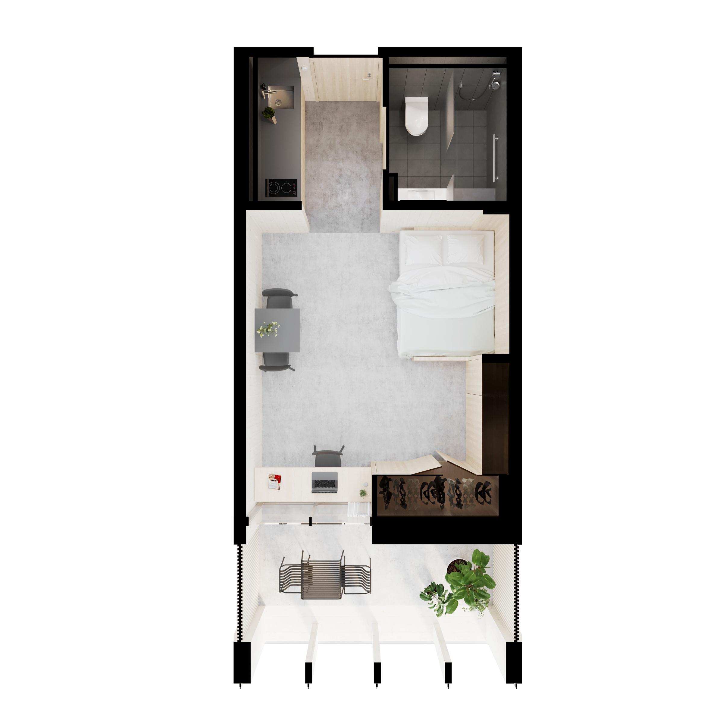 gh3 - SWL - Units - Studio - 3D Plan