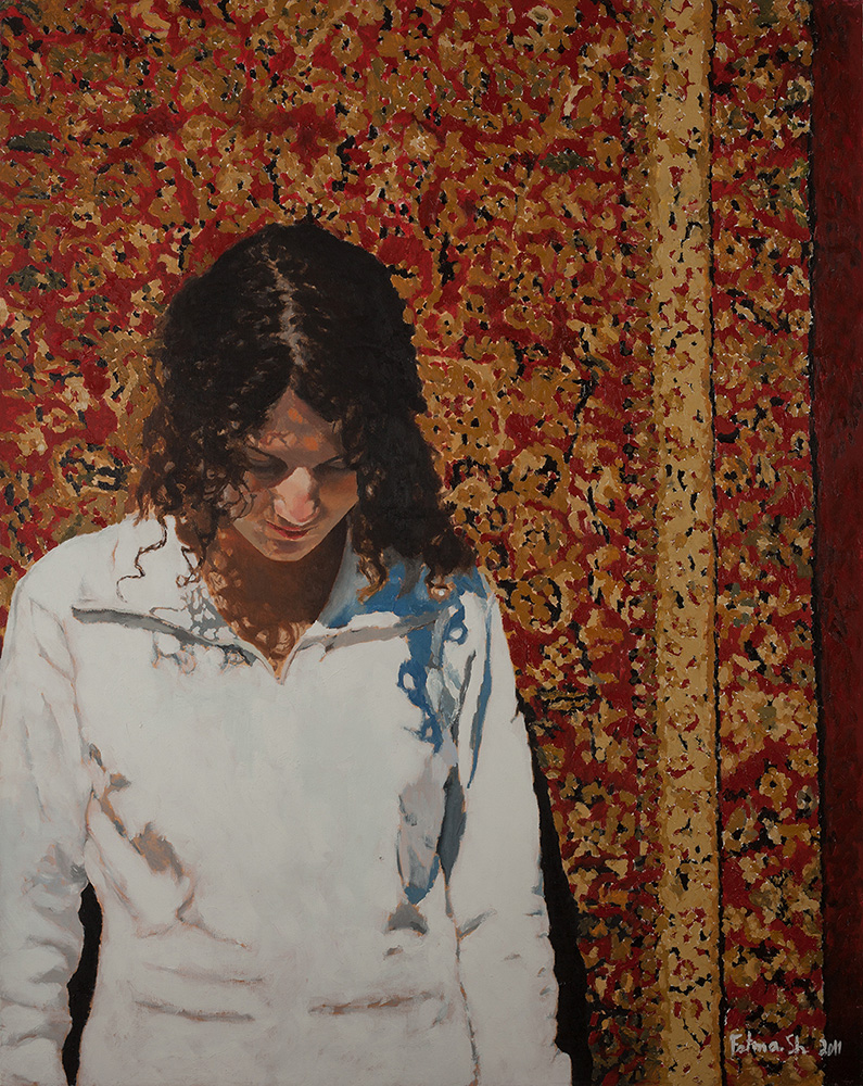 Self-Portrait and Carpet, 2011, oil on canvas, 100x80, privaete collection,Ramat Hasharon