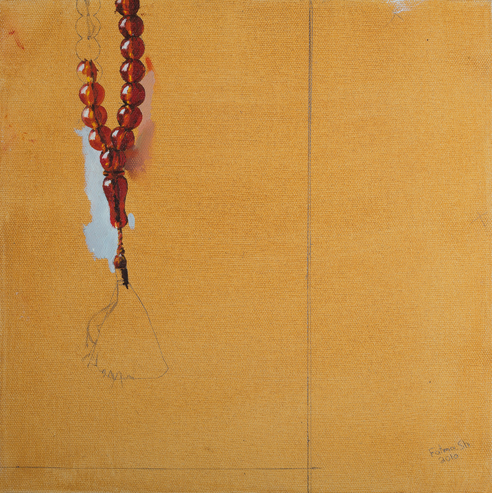 Misbaha #1, 2010, oil and pencil on canvas, 30x30, private collection, Israel