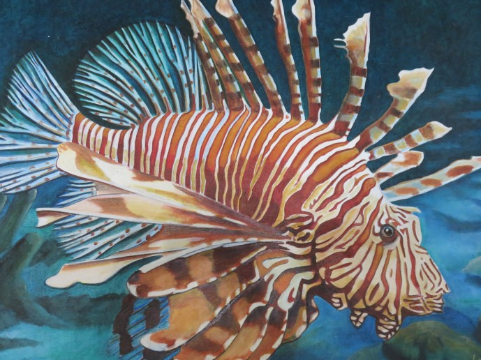 A very good oil painting of a lion fish at our resort