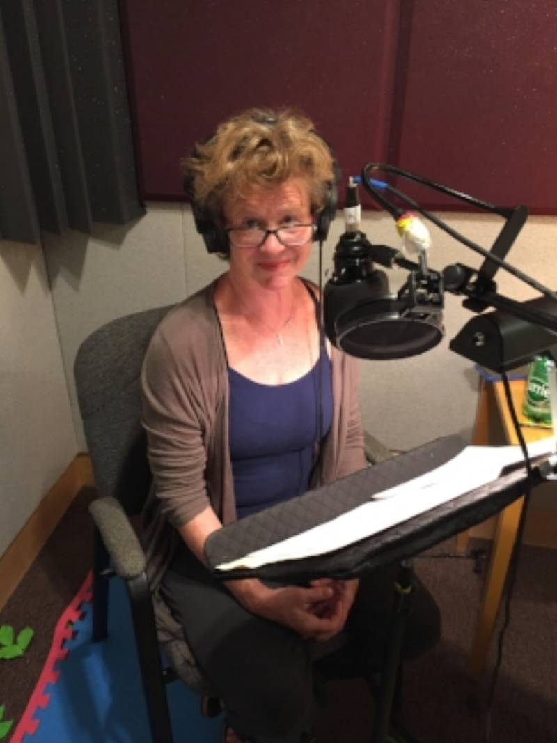Here's Nancy during her recording session at in Grand Rapids, Michigan.