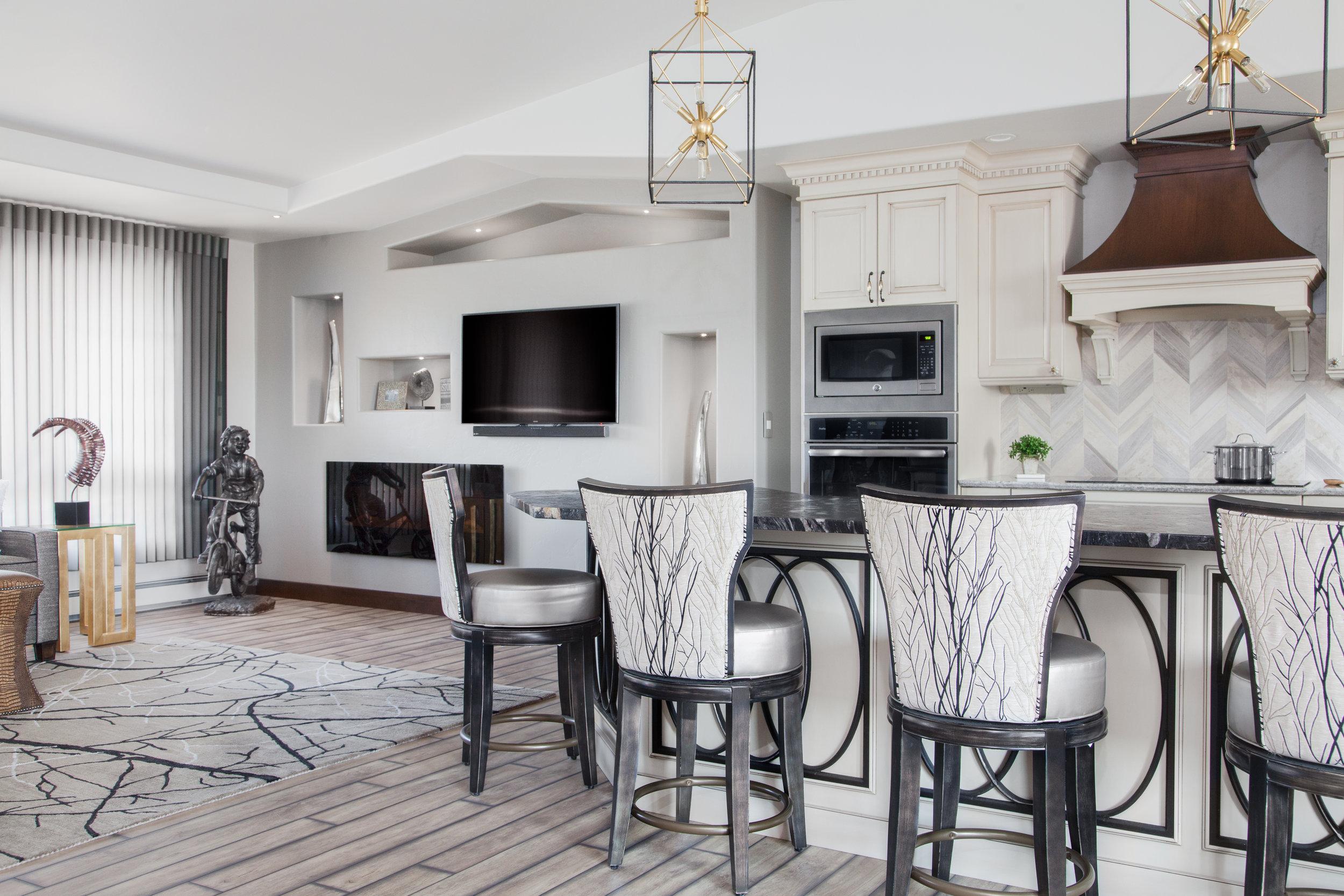 Open floor den kitchen Ellie Ann's Interior Design