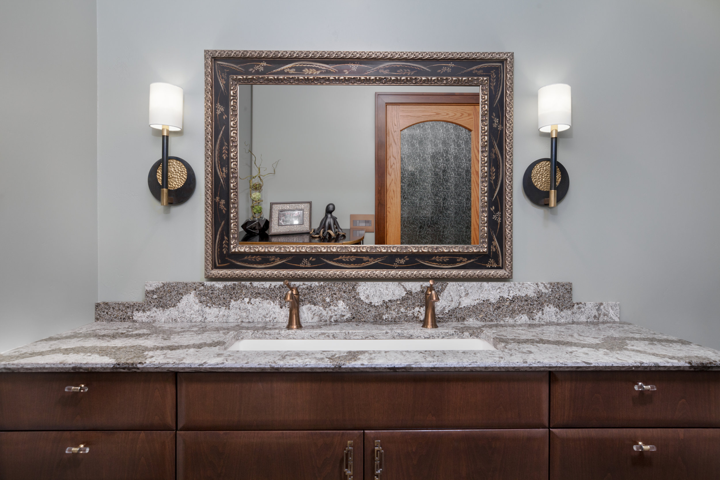 Transitional Bathroom | Wide Bathroom Sink Granite Countertop